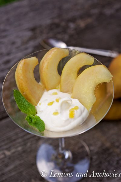 Bosc Pears with Rum, Mascarpone and Ginger Syrup