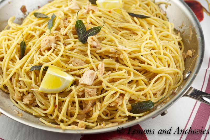 Spaghetti With Tuna, Anchovies And Crispy Sage
