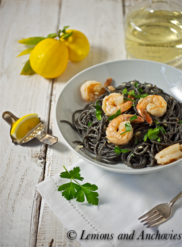 squid ink spaghetti with shrimp and white truffle oil, see more at http://homemaderecipes.com/cooking-101/11-unique-pasta-recipes/