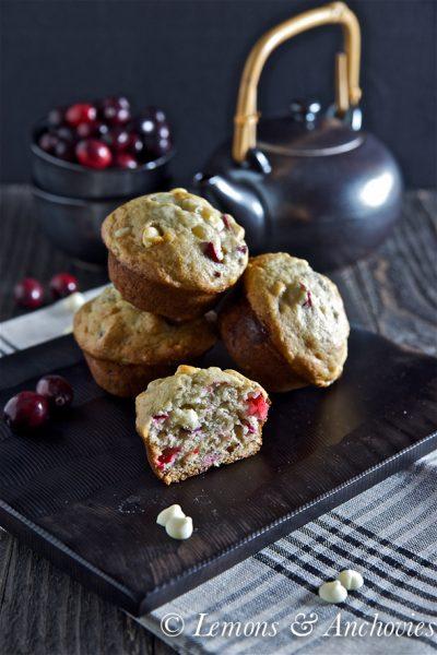 Banana Cranberry White Chocolate Chip Muffins
