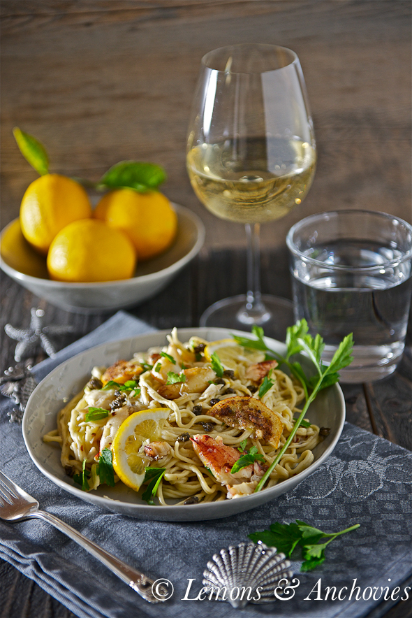 Dungeness Crab Pasta with Fried Meyer Lemon Slices and Fried Capers-3