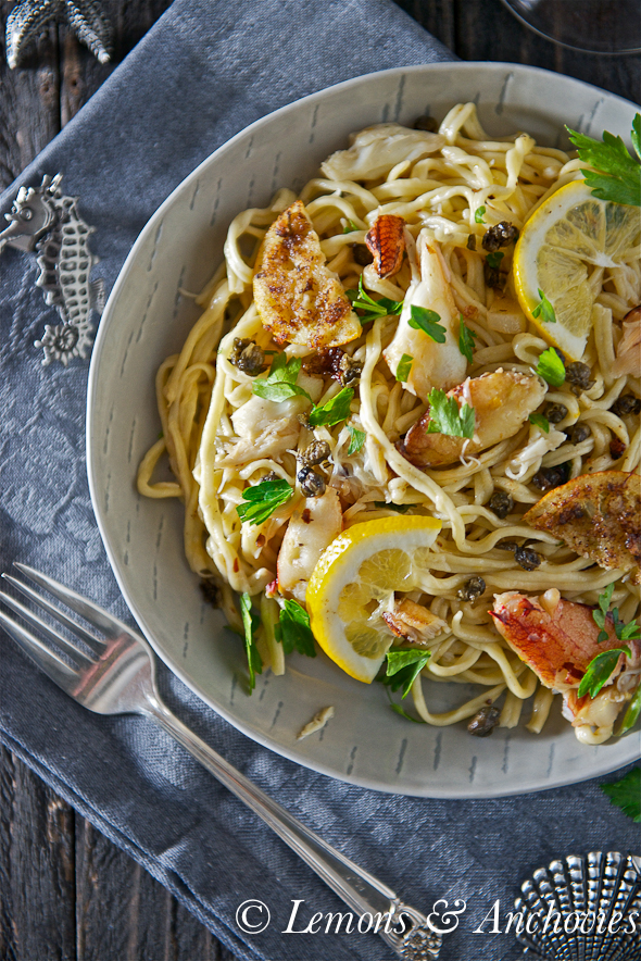 Dungeness Crab Pasta with Fried Meyer Lemon Slices and Fried Capers-4
