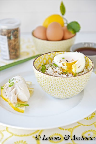 Poached Cod and Egg over Rice