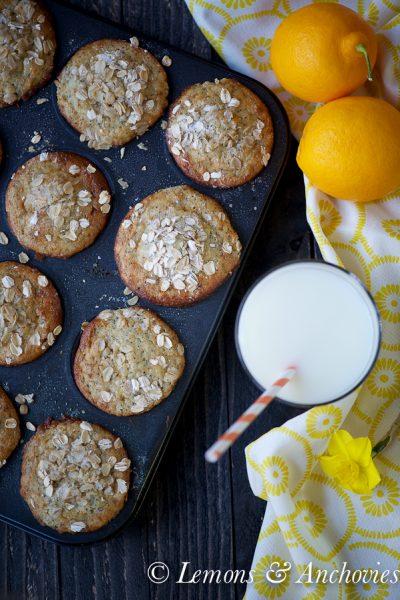 Meyer Lemon Poppy Seed Oatmeal Muffins (Low-Fat)