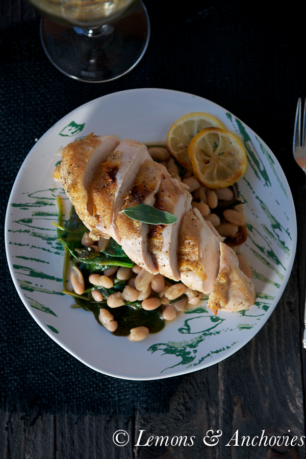 Roast Chicken with White Beans and Spinach-3
