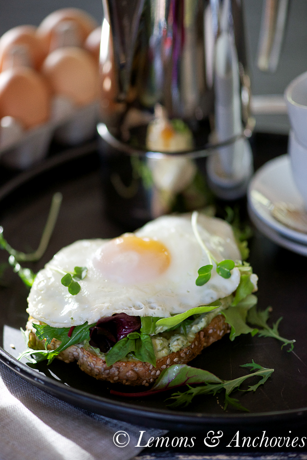 Fried Egg Tartine with Greens and Pesto Mayo-3