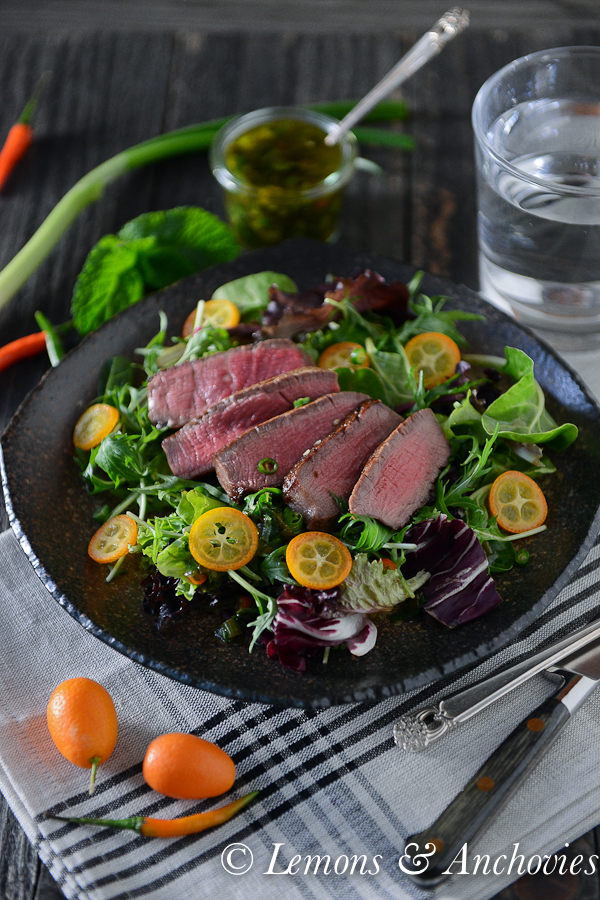 Steak Salad with Mint-Scallion Dressing | Lemons & Anchovies Blog