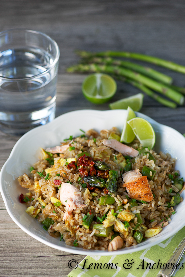 Asparagus-Salmon Fried Rice | Lemons & Anchovies Blog