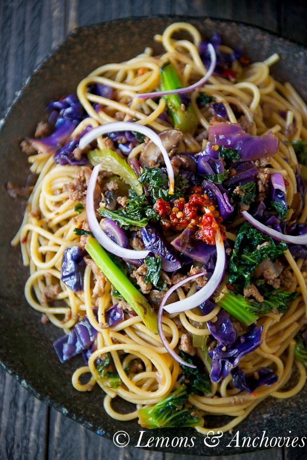 Stir-Fried Noodles with Kale & Cabbage | https://lemonsandanchovies.com