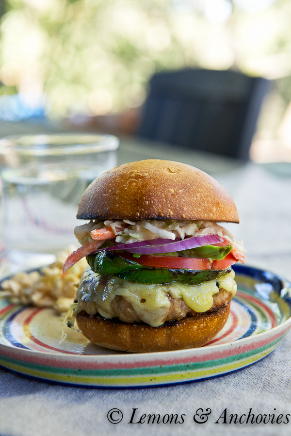 Chipotle Turkey Burger with Southwestern Slaw | https://lemonsandanchovies.com