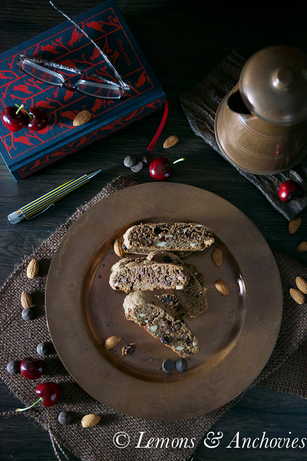 Chocolate Cherry Almond Biscotti | https://lemonsandanchovies.com