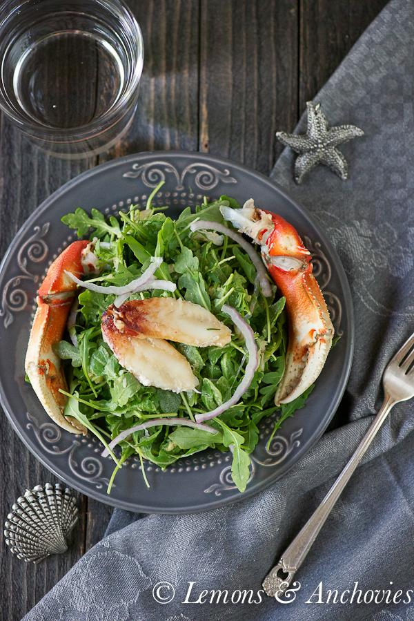 Crab & Arugula Salad with Avocado-Lime Dressing | https://lemonsandanchovies.com