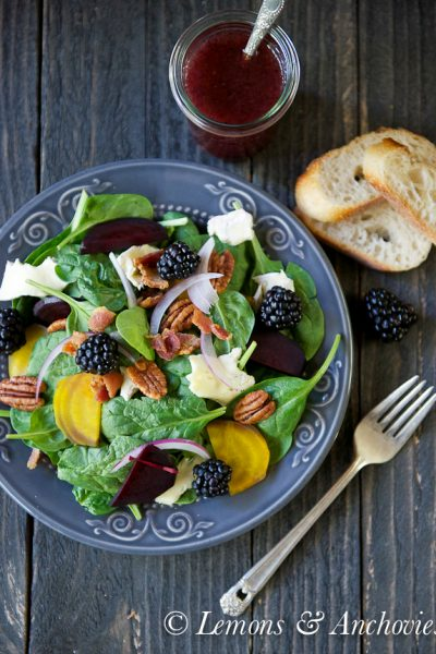 Spinach & Roasted Beet Salad with Berry-Balsamic Vinaigrette