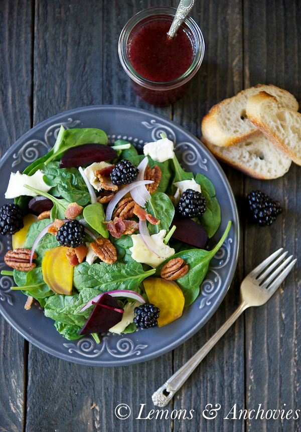 Spinach & Roasted Beet Salad with Berry-Balsamic Vinaigrette | https://lemonsandanchovies.com