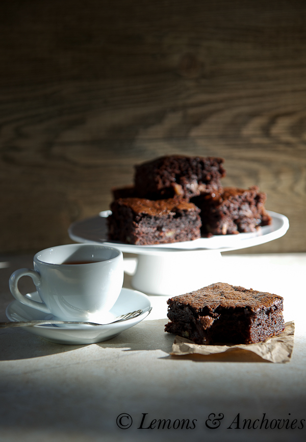 Espresso Bourbon Brownies with Toblerone Chunks