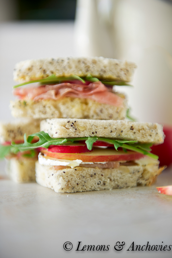 Prosciutto, Apple and Brie Tea Sandwiches with Sage Butter-2