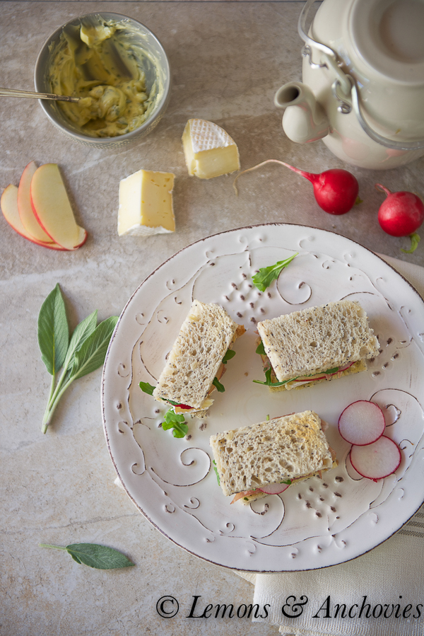 Prosciutto, Apple and Brie Tea Sandwiches with Sage Butter-3