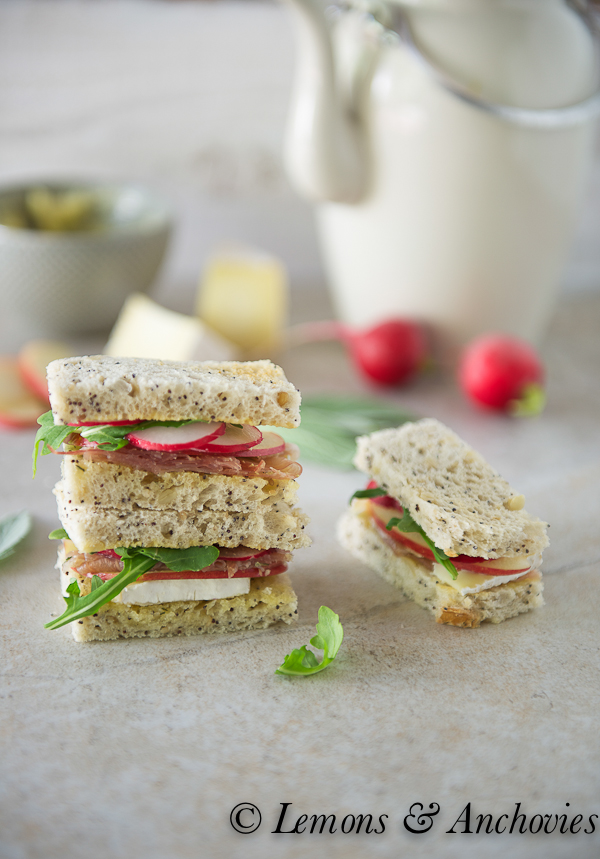 Prosciutto, Apple and Brie Tea Sandwiches with Sage Butter-4