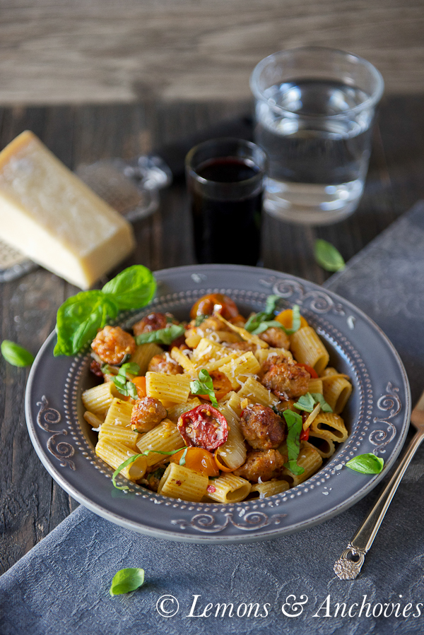 Fennel, Sausage and Tomato Pasta with Rosé @lemonsanchovies