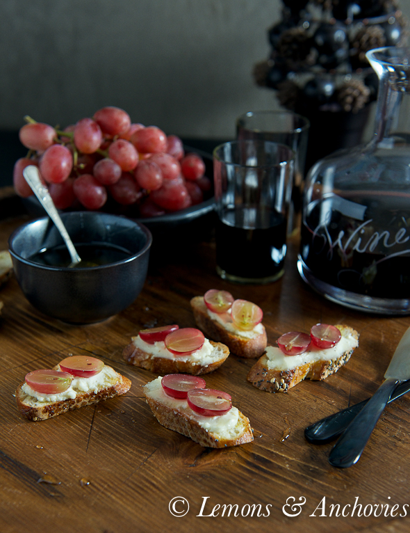 Goat Cheese, Grape and Honey Crostini
