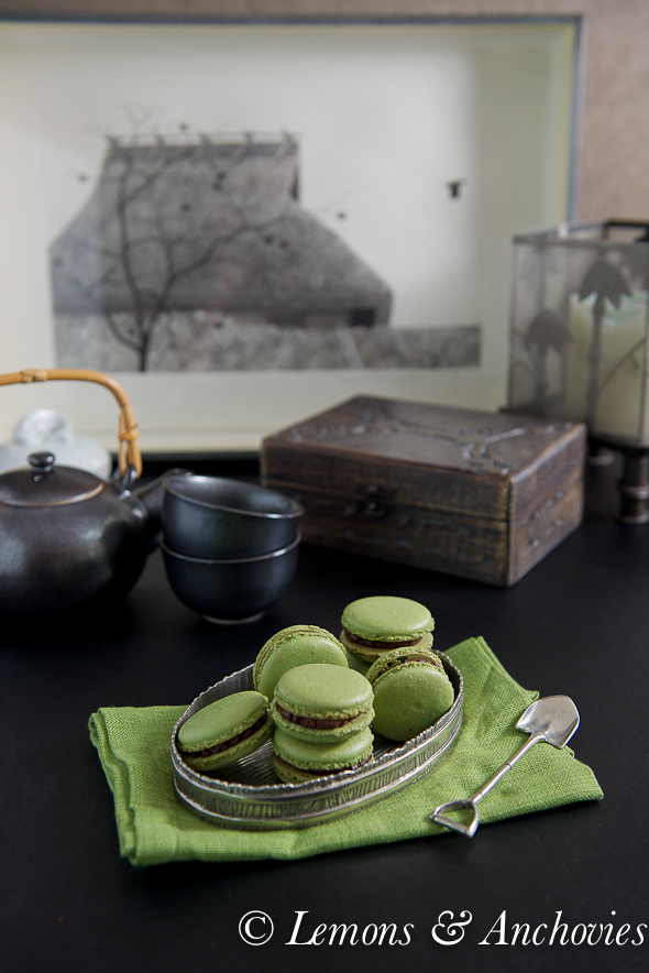 Matcha Green Tea Macarons with Chocolate Ganache