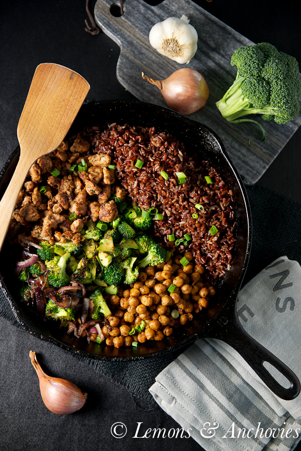 Stir-Fried Sausage, Chickpeas and Red Rice