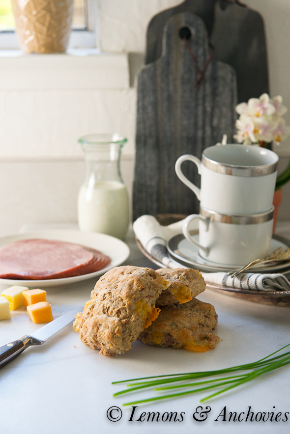 Ham, Cheese and Chive (Spelt) Scones