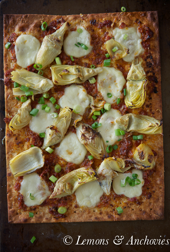 Lavash Pizza with Artichokes and Sun-Dried Tomatoes