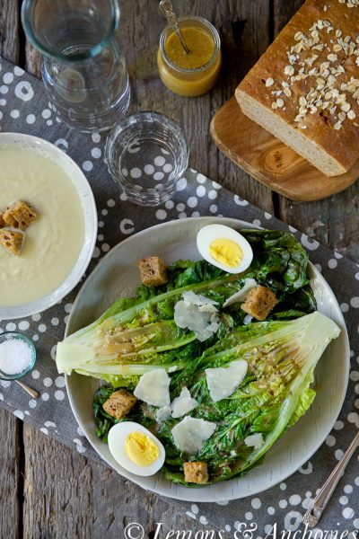 Caesar Salad with Grilled Romaine