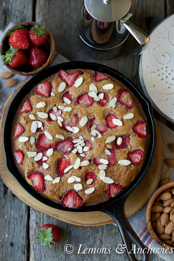 Strawberry Almond Olive Oil Cake