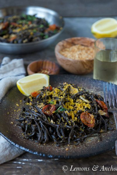 Homemade Squid Ink Pasta with Bottarga