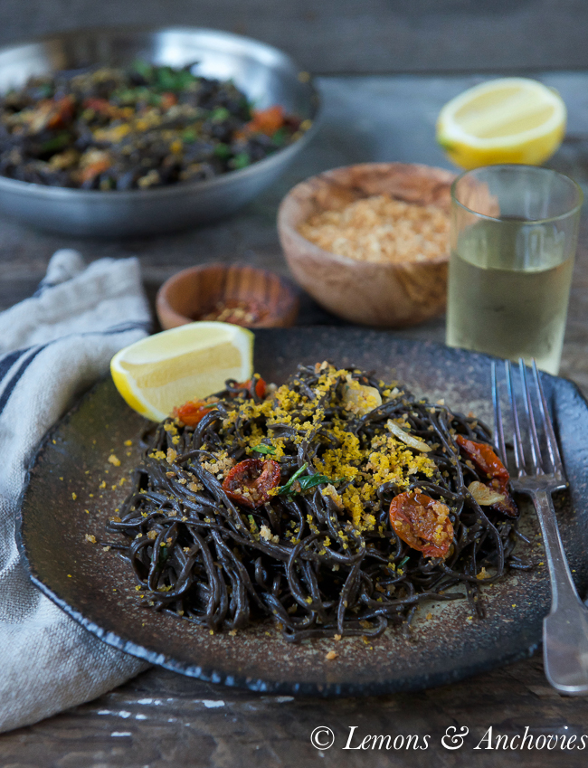 homemade squid ink pasta with bottarga