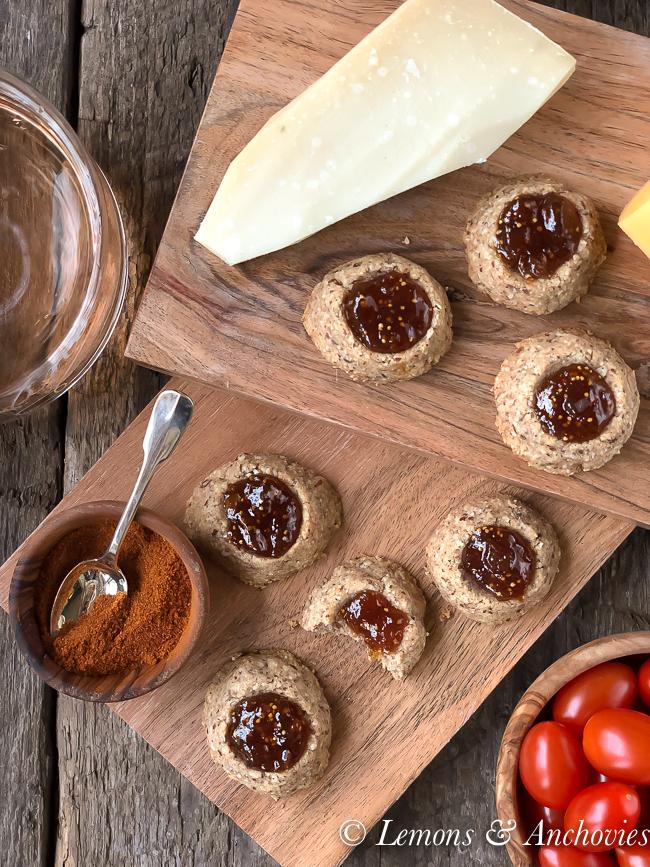 savory cheesy thumbprint cookies