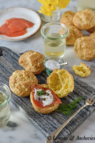 Gouda-Dill Gougères with Smoked Salmon