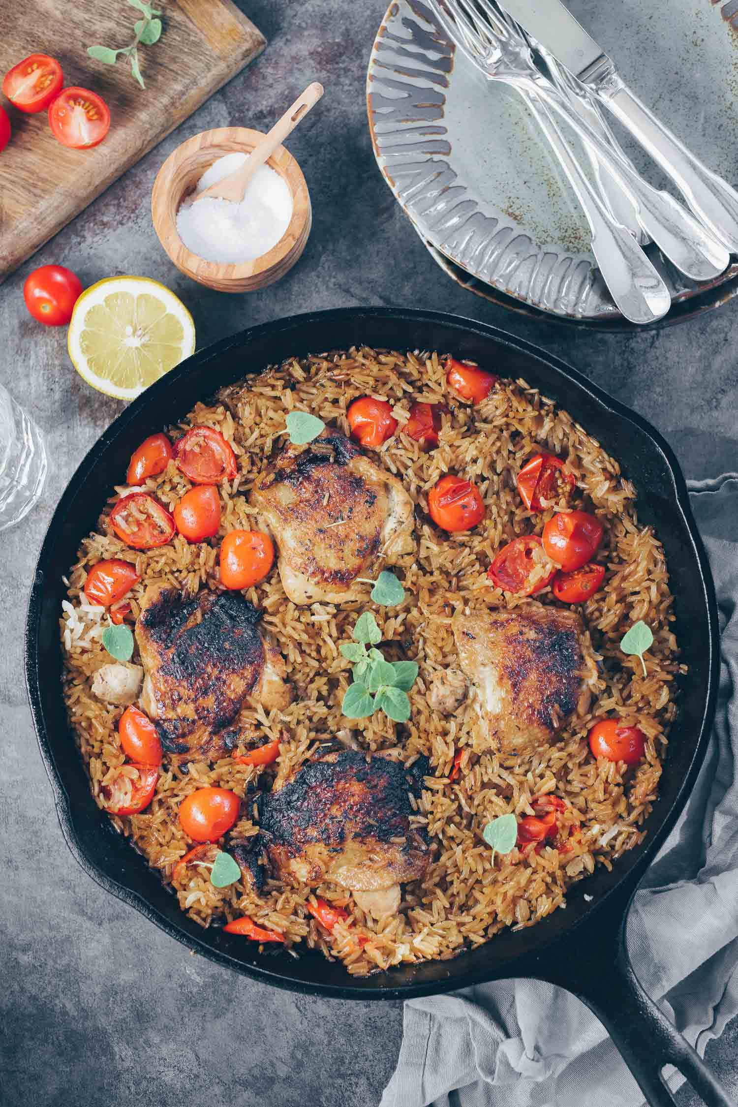 skillet lemon herb chicken and rice