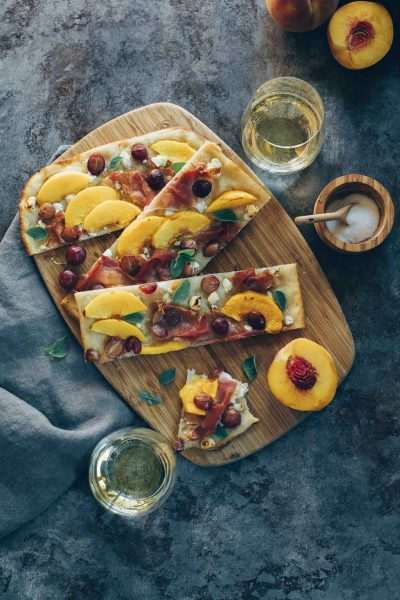 Peach, Grape and Prosciutto Sourdough Focaccia