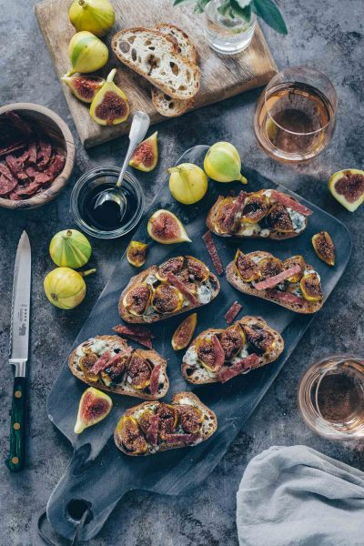 Roasted Fig, Gorgonzola and Crispy Salami Crostini