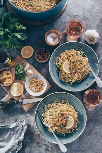 Spaghetti with Toasted Garlic, Breadcrumbs and Herbs