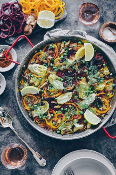 Vegetable Paella with Shiitake Bacon