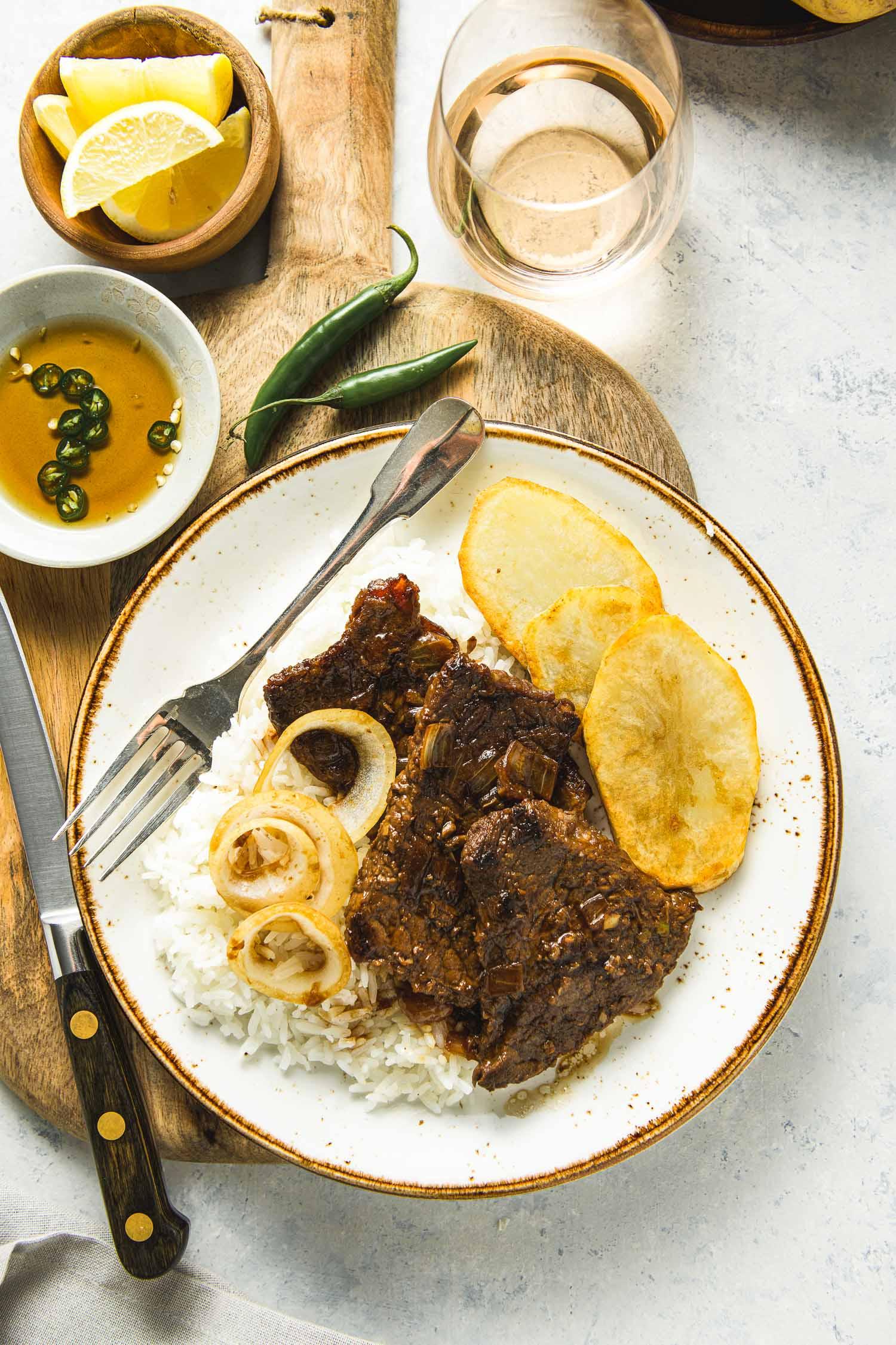 Bistek Tagalog Recipe Filipino Beefsteak Lemons Anchovies